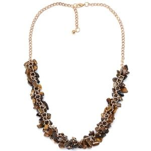 """Tigers Eye Necklace in Goldtone 18"""" NWT"""